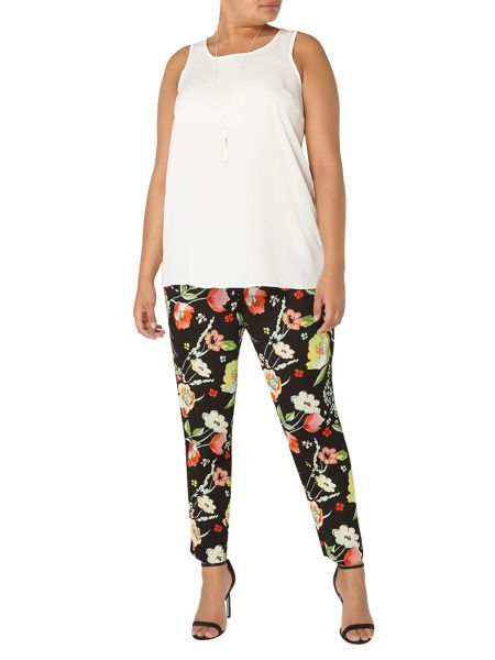 Evans Black Floral Print Tapered Trousers