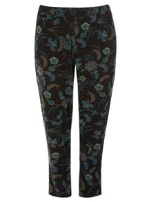 Evans Black Print Tapered Trousers
