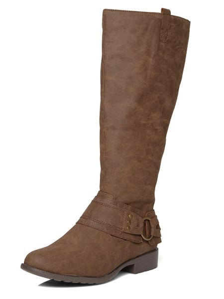 Evans Extra Wide Fit Buckle Detail Long Boot