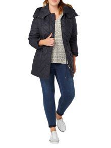 Evans Navy quilted coat