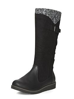 Black wedge knit boots