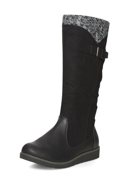 Evans Black wedge knit boots