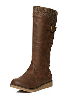 Brown wedge knit boot