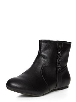 Black plait ankle boots