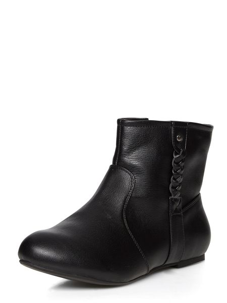 Evans Black plait ankle boots