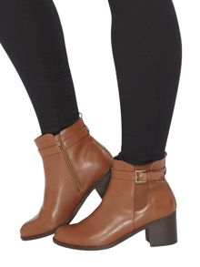 Evans Tan Elastic Heeled Boot