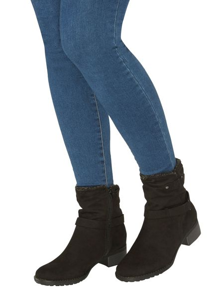 Evans Extra Wide Fit Black Fur Collar Boot