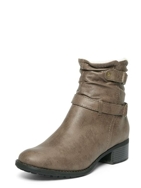 Evans Extra Wide Fit Grey Fur Collar Boot