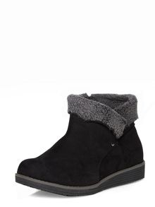 Evans Black fur trimmed ankle boots