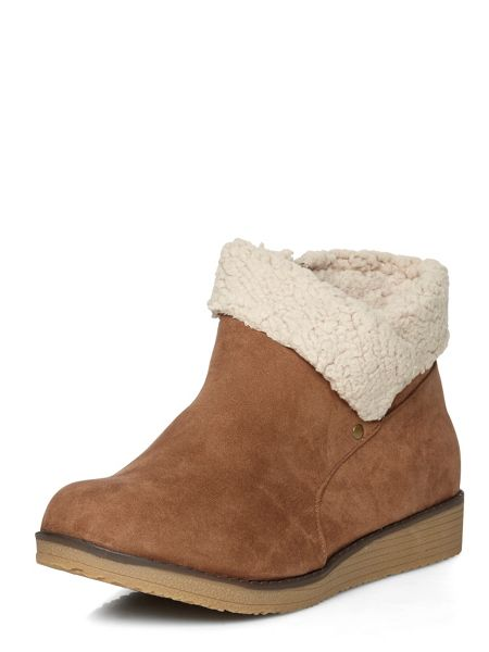 Evans Brown fur trimmed ankle boots