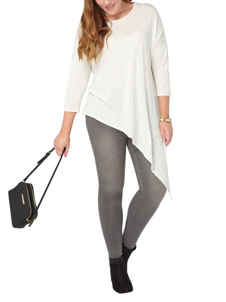 Evans Ivory Asymmetric Striped Top