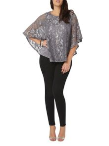 Evans Grey Shimmer Lace Top