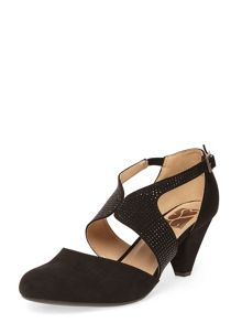 Evans Extra Wide Fit Suedette Gem Cut Out Heel