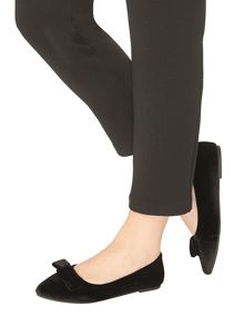 Evans Extra Wide Fit Black Velvet Bow Point Pump