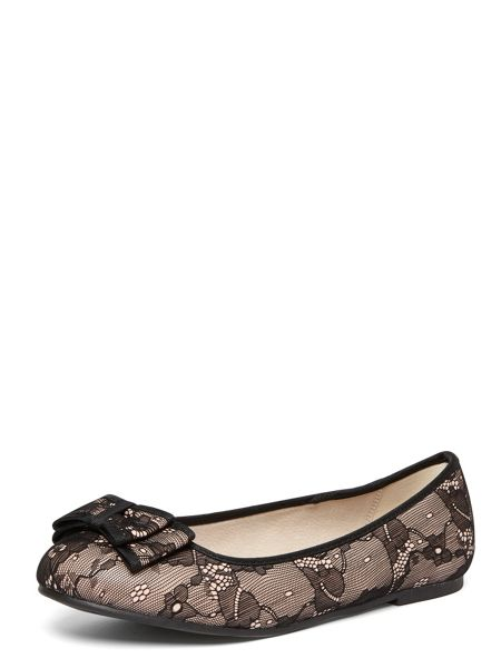 Evans Extra Wide Fit Pink Bow Ballet Pump