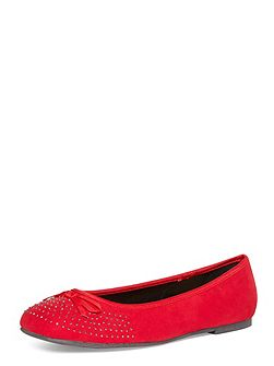 Extra Wide Fit Red Diamante Square Toe Pump