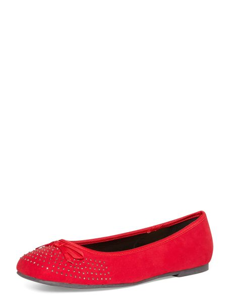 Evans Extra Wide Fit Red Diamante Square Toe Pump