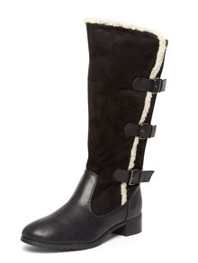 Evans Extra Wide Fit Black Three Buckle Boot