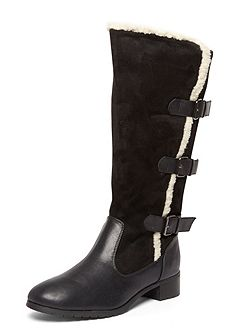 Extra Wide Fit Black Three Buckle Boot