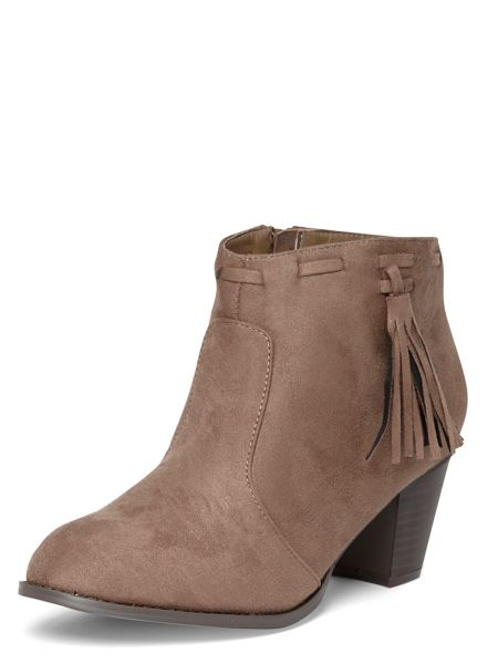 Evans Extra Wide Fit Taupe Tassle Ankle Boot