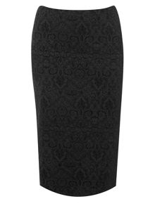 Evans Black Patterned Pencil Skirt