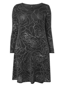 Evans Black Rose Patterned Glitter Dress