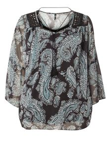 Evans Black Paisley Top