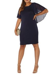 Evans Navy Cape Trim Dress