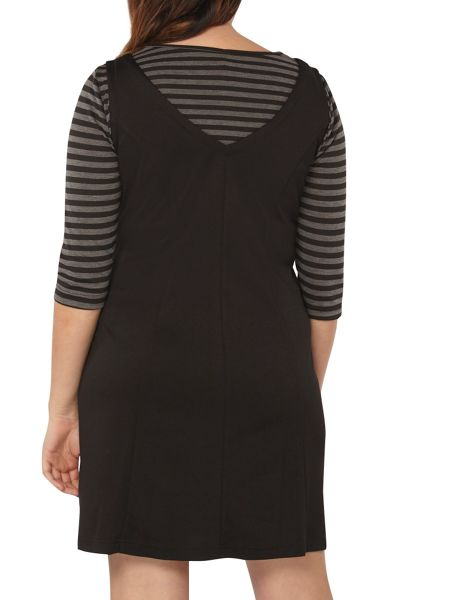Evans Black 2In1 Stripe Dress