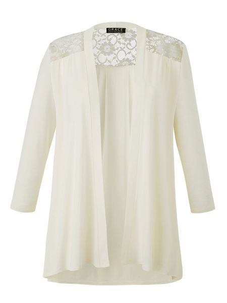 Grace Made In Britain Lace Trim Cardigan