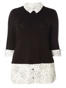 Evans Black And White Spotted 2-In-1 Top