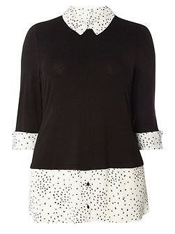 Black And White Spotted 2-In-1 Top