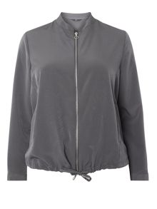 Evans Grey Drawstring Bomber Jacket