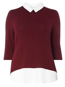 Berry Red Busty Fit 2-In-1 Shirt