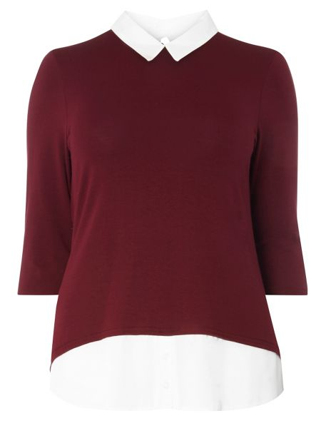 Evans Berry Red Busty Fit  2-In-1 Shirt