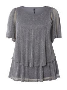 Evans Silver Glitter Frill Top