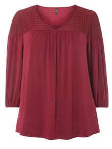 Evans Burgandy Lace Detail Top