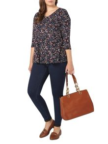 Evans Black Floral Print Swing Top