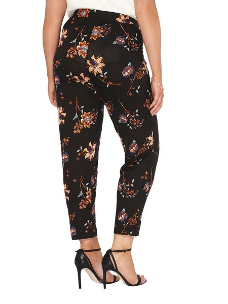 Evans Black Printed Tapered Trouser