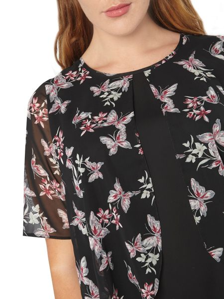 Evans Busty Butterfly Overlay Top