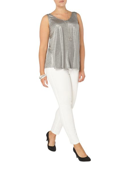Evans Grey metallic frill front top