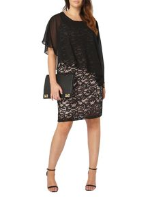 Evans Black Lace Chiffon Dress