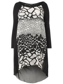 Evans Black Print Tunic Top