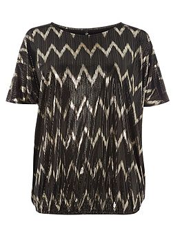 Black and Gold Zig Zag Top
