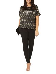 Evans Black and Gold Zig Zag Top