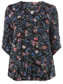Evans Black Floral 3/4 Sleeve Shirt