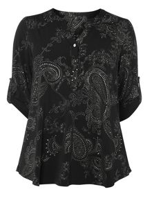 Evans Black And Foil Paisley Shirt