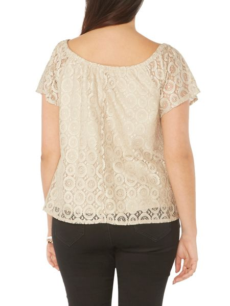 Evans Nude Gypsy Shimmer Lace Top