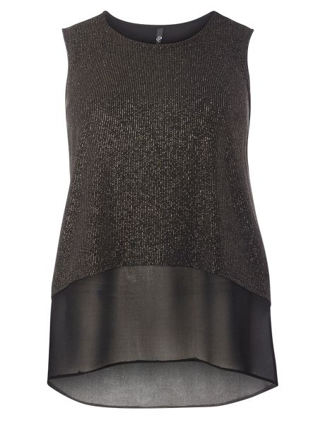 Evans Silver Shimmer Layer Top