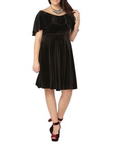 Evans Black Velvet Layer Dress